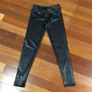 Black pleather leather look pants liquid black S